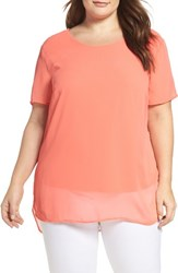 Vince Camuto Plus Size Women's High Low Chiffon Overlay Top