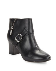 Taryn Rose Leather Buckle Ankle Boots Black