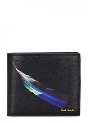 Paul Smith Feather Print Leather Wallet Black