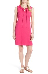 Tommy Bahama Lace Up Shift Dress Pink Lace