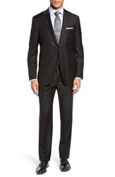 Hickey Freeman Men's Big And Tall Classic Fit Solid Wool Suit Black Solid