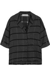 Studio Nicholson Lewis Striped Wool Cotton And Silk Blend Shirt Dark Gray