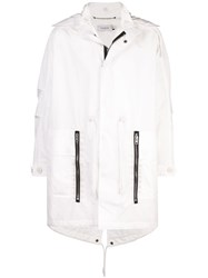 Coach Hooded Military Style Trench Coat White