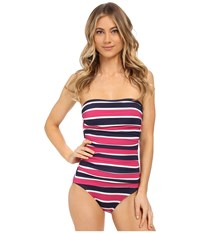 Tommy Bahama Nautical Shirred Bandeau One Piece Mare Navy Women's Swimsuits One Piece