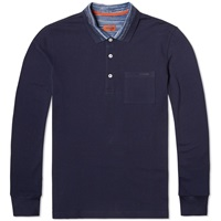 Missoni Long Sleeve Space Dyed Collar Polo Navy