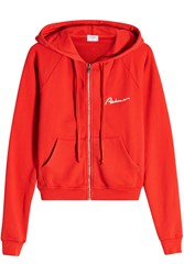 Re Done Zipped Cotton Hoody Red