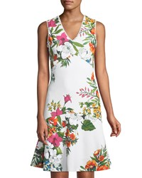 Donna Ricco Floral V Neck Fit And Flare Dress White Pattern