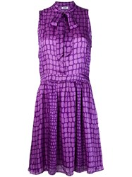 Moschino Vintage Geometric Pattern Buttoned Dress Pink And Purple