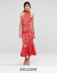 Jarlo High Neck Midi Dress In Lace Red