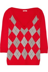 Marc Jacobs Argyle Wool Sweater Red