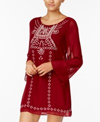 Crystal Doll Juniors' Embroidered Peasant Dress Ivory Burgundy