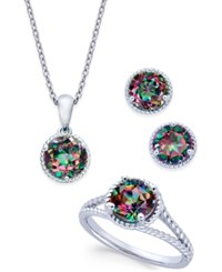 Macy's Mystic Quartz Rope Style Pendant Necklace Stud Earrings And Ring Set 4 Ct. T.W. In Sterling Silver Multi