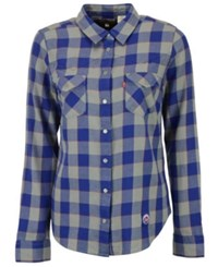 Levi's New York Mets Buffalo Western Button Up Shirt Royalblue Gray