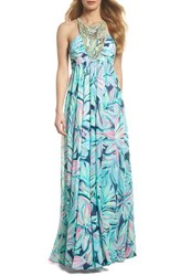 Lilly Pulitzer Lannette Embellished Chiffon Maxi Dress High Tide Dancing Lady