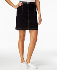 Karen Scott Petite Belted Denim Skort Only At Macy's Deep Black