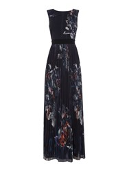 Little Mistress Sleeveless Floral Printed Maxi Dress Navy