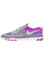 Nike Performance Free Focus Flyknit Sports Shoes Cool Grey Wolf Grey Hyper Violet Summit White