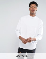 Asos Tall Oversized T Shirt With High Neck And Cropped Arm In White White