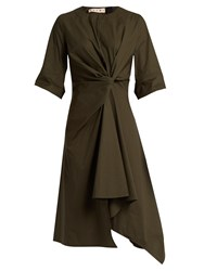Marni Knotted Asymmetric Cotton Poplin Dress Khaki