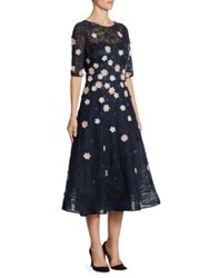 Rickie Freeman For Teri Jon Appliqued Lace Fit And Flare Dress Navy