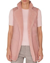 Akris Punto Stand Collar No Closure Reversible Suede Shearling Fur Vest Pink