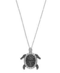 Macy's Sterling Silver Necklace Black And White Diamond 1 10 Ct. T.W. Turtle Pendant