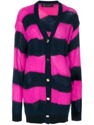 Versace Striped Button Up Cardigan Cotton Polyamide Mohair Wool Pink Purple