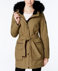 Lucky Brand Faux Fur Trim Belted Anorak Olive