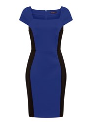 Hotsquash Square Necked Ponte Dress In Clever Blue