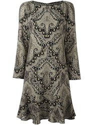 Etro Damask Print Ruffle Hem Dress Multicolour