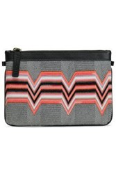 Missoni Leather Trimmed Intarsia Knit Pouch Black