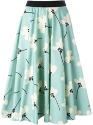 Eggs Pleated Floral Print Full Skirt Blue