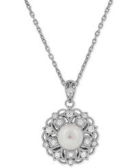 Honora Style Cultured Freshwater Pearl 8Mm And Swarovski Zirconia Pendant Necklace In Sterling Silver White
