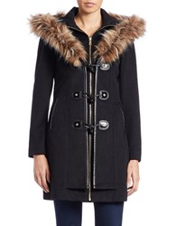 Betsey Johnson Faux Fur Trimmed Toggle Coat Black