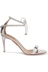 Aquazzura Crillon Crystal Embellished Mirrored Leather Sandals Silver