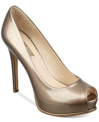 Guess Women's Honora Peep Toe Platform Pumps Women's Shoes Champagne