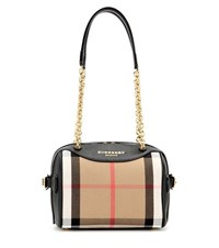 Burberry The Alchester Check And Leather Bowling Bag Multicoloured