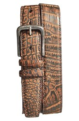 Men's Torino Belts 'Zimbabwe' Genuine Crocodile Belt Antique Brown