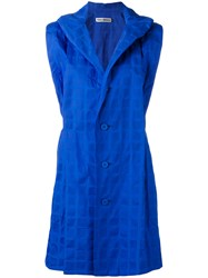 Issey Miyake Single Breasted Gilet Women Cotton 3 Blue