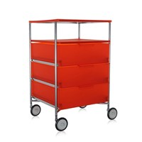 Kartell Mobil 3 Drawer Tray Wheels Orange