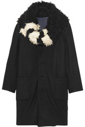 Y 3 Faux Shearling Trimmed Wool Coat Black