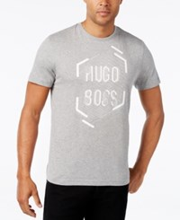 Hugo Boss Green Men's Graphic Print Logo T Shirt Light Pastel Grey
