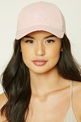 Forever 21 Feels Faux Suede Baseball Hat Pink White