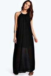 Boohoo Chiffon High Neck Maxi Dress Black