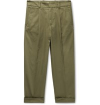 Acne Studios Navy Pierre Cropped Tapered Pleated Stretch Cotton Trousers Green