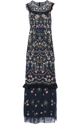 Needle And Thread Ruffle Trimmed Embellished Tulle Maxi Dress Navy