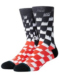 Stance Blur Check Socks Black