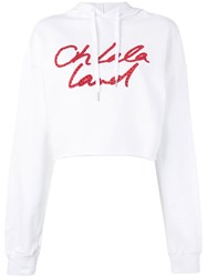 Each X Other Cropped Drawstring Hoodie Women Cotton M White