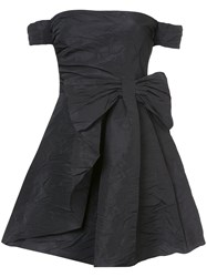 Red Valentino Off The Shoulder Bow Dress Polyester Acetate Black