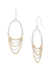 Kenneth Cole Chain Gang Two Tone Chain Chandelier Earrings Gold